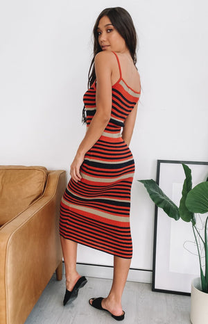 Dayspring Midi Dress Rust Stripe