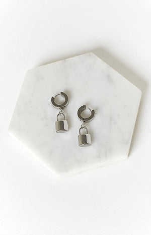 Eclat Milla Lock Huggie Earrings Silver