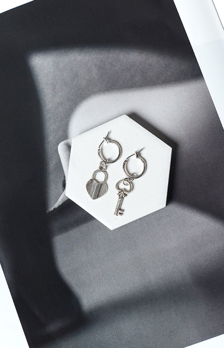 Eclat Juliette Lock And Key Earrings Silver