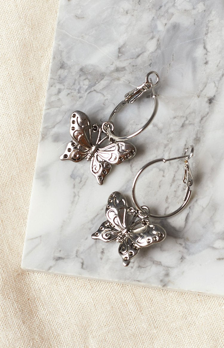 Eclat Nomi Butterfly Earrings Silver