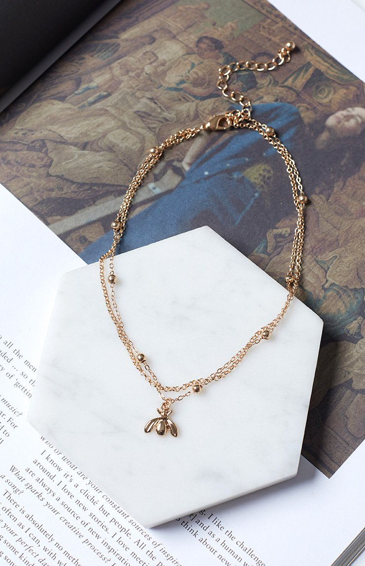 Eclat Sweet Bee Layered Necklace Gold