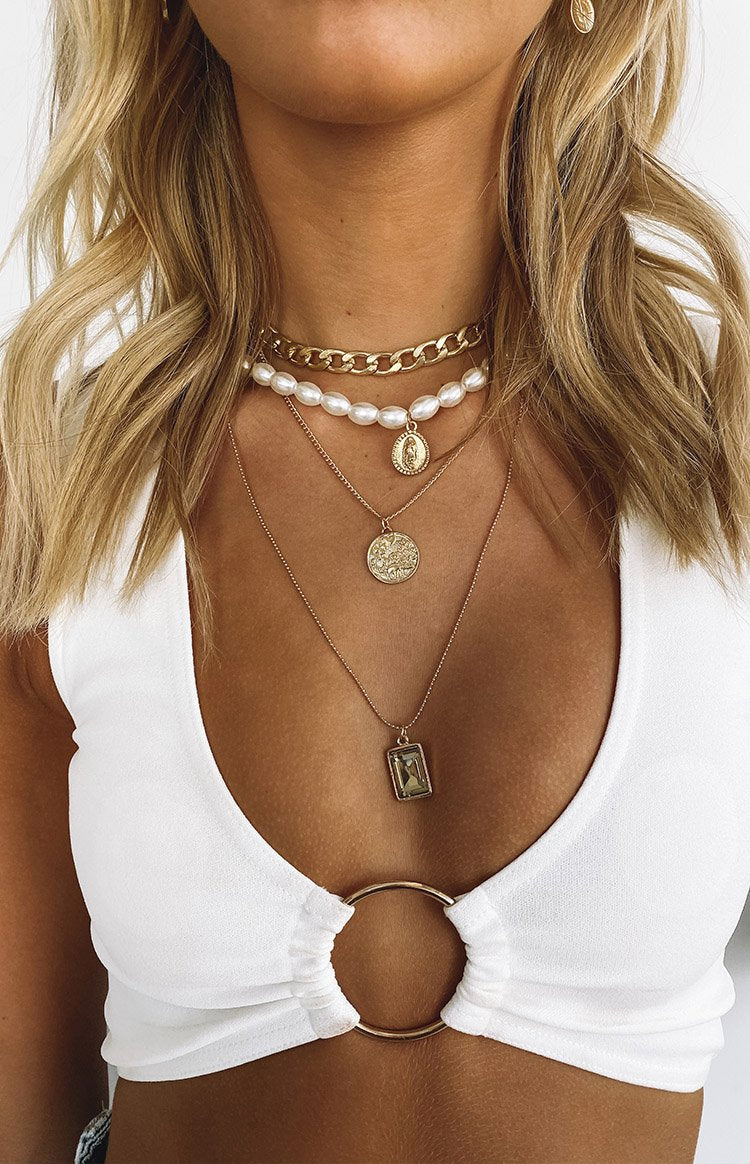 Eclat Treat You Better Pearl Layered Necklace Gold