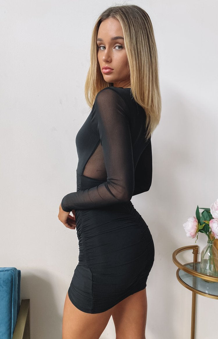 Elevated Long Sleeve Party Dress Black