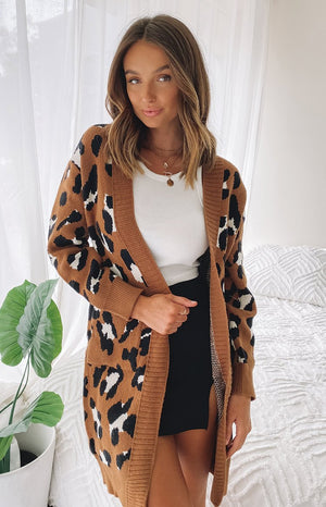 Fortunate Cardi Dark Leopard