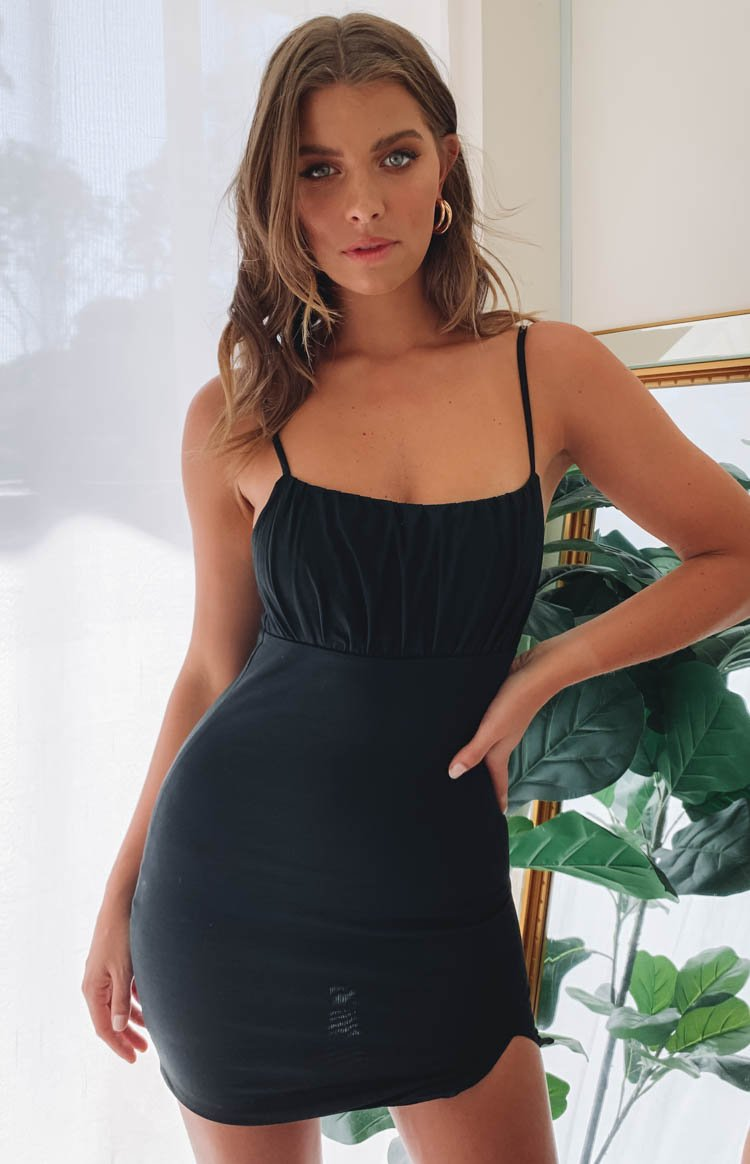 Get In Line Fitted Party Dress Black
