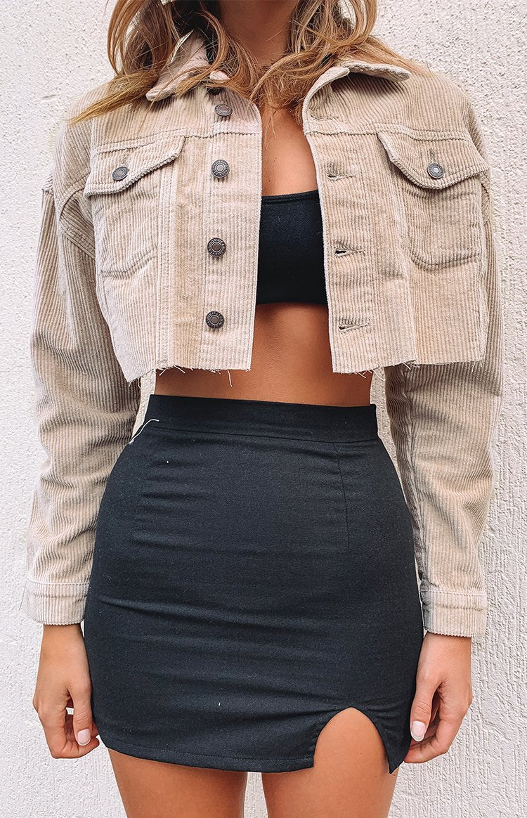 Glow Girl Cropped Jacket Beige