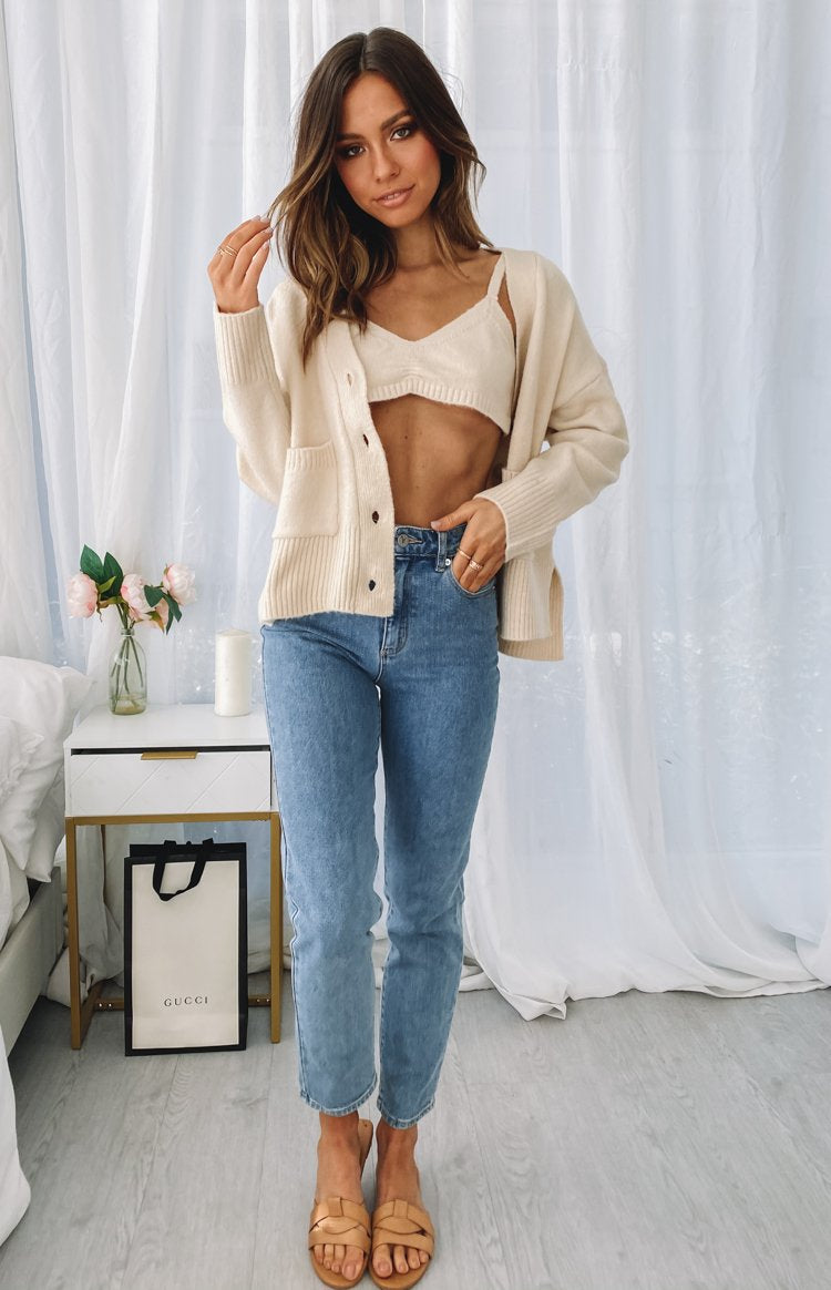 Heathers Button Up Cardi Beige