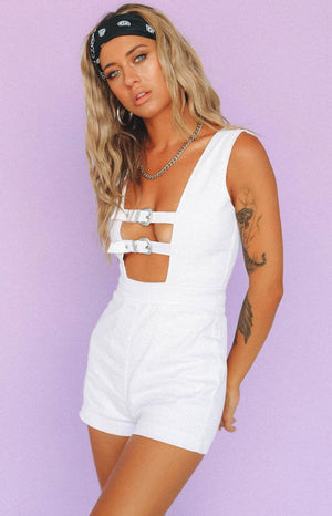 Howdie Playsuit White