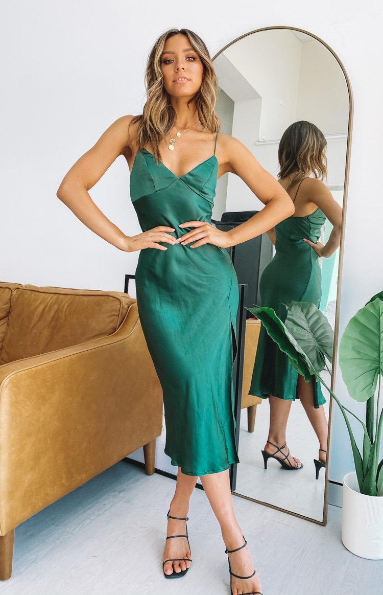 I'm Good V Neck Midi Dress Emerald