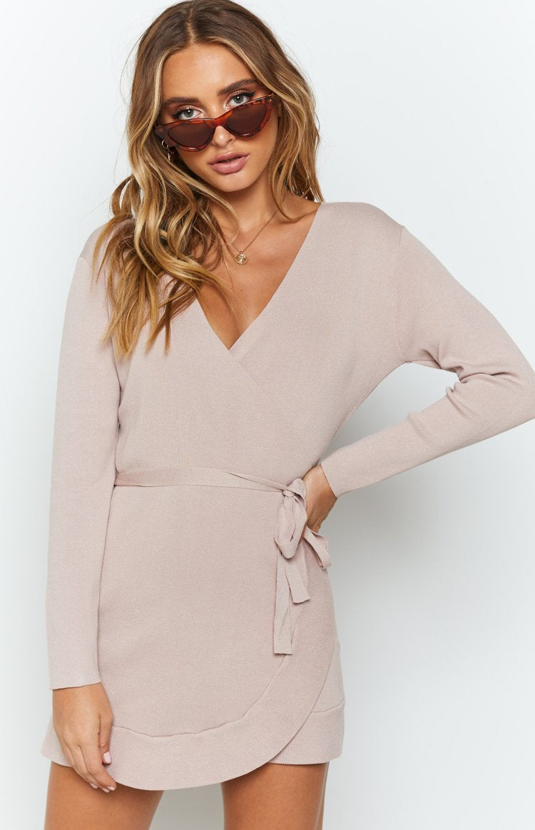 Kehlani Knit Wrap Dress Blush