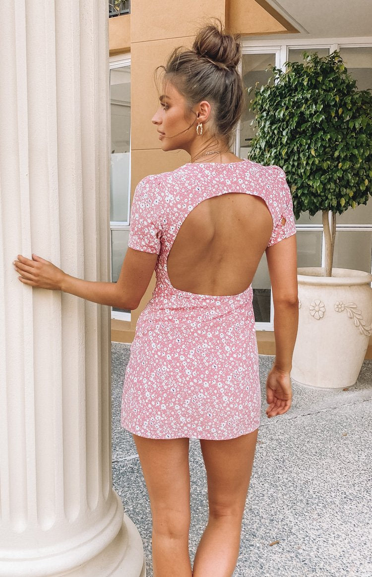 Keidis Backless Mini Dress Pink Print