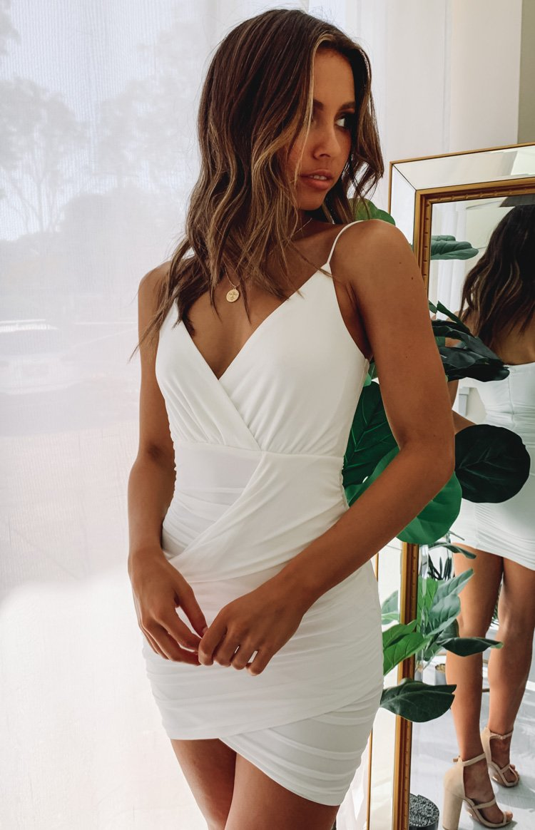 Luxe Life V Neck Party Dress White