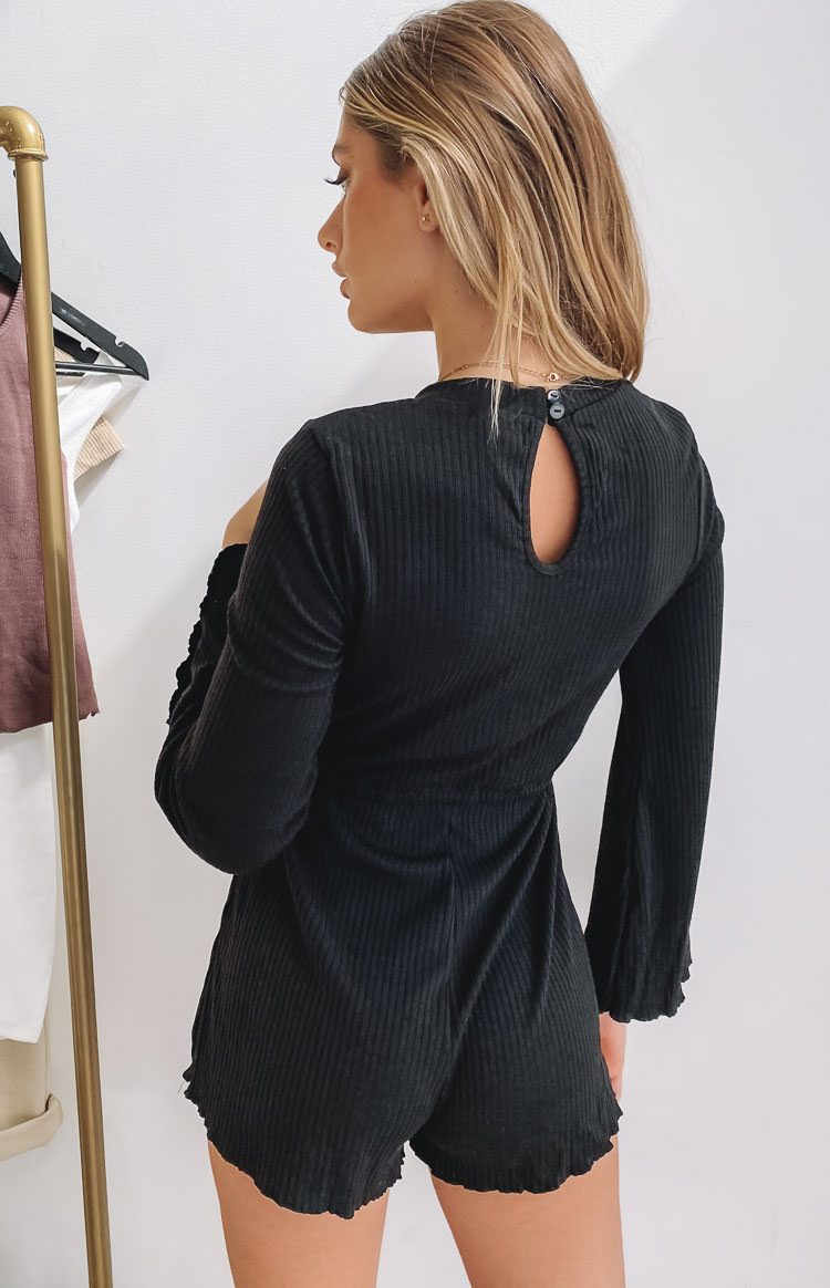 Mustang Long Sleeve Ribbed Playsuit Black