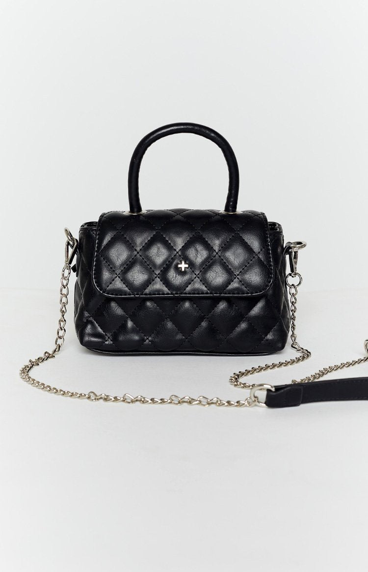 Peta & Jain Cartier Top Handle Quilt Bag Black Quilt