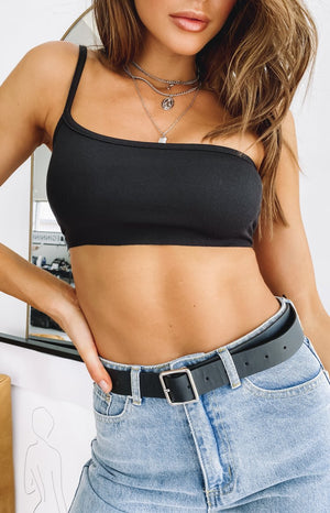 Saint One Shoulder Crop Black