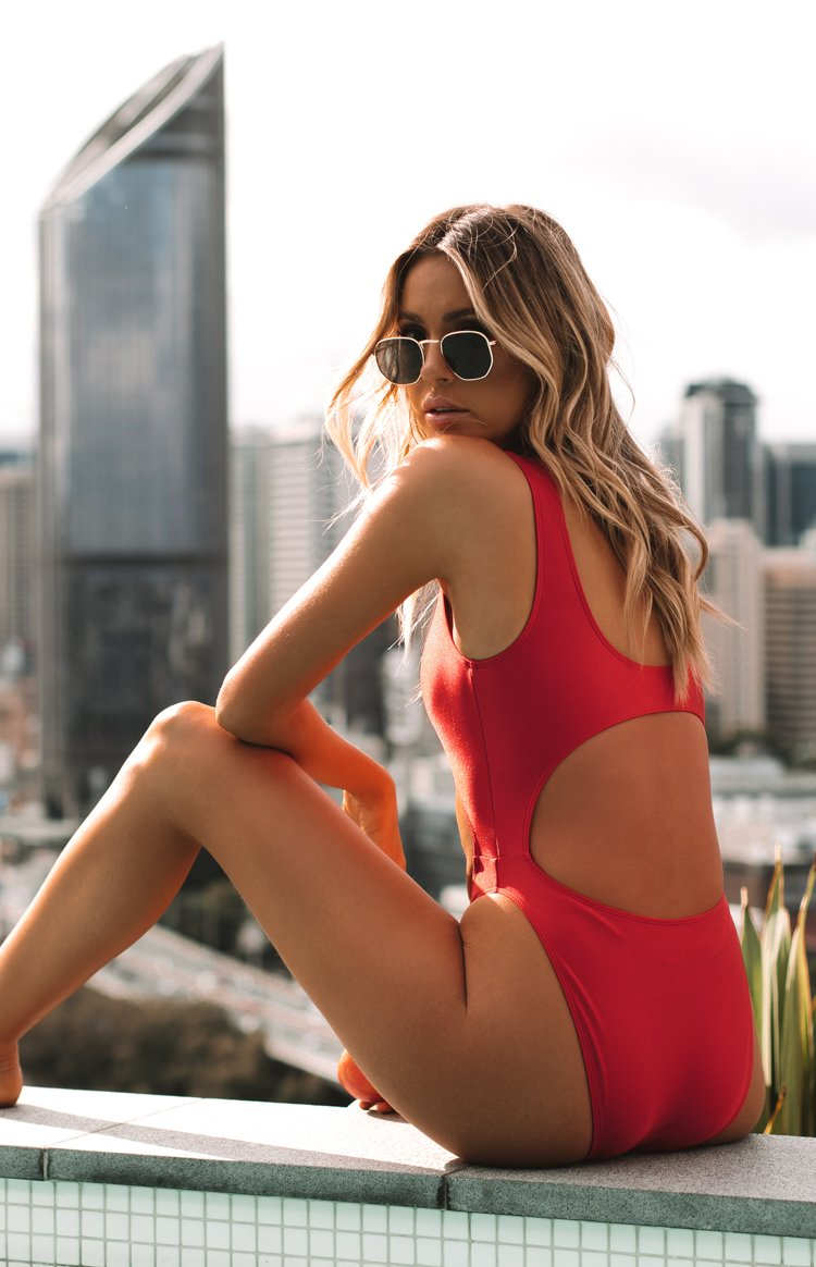 9.0 Swim San Andres Cut Out One Piece Metallic Red
