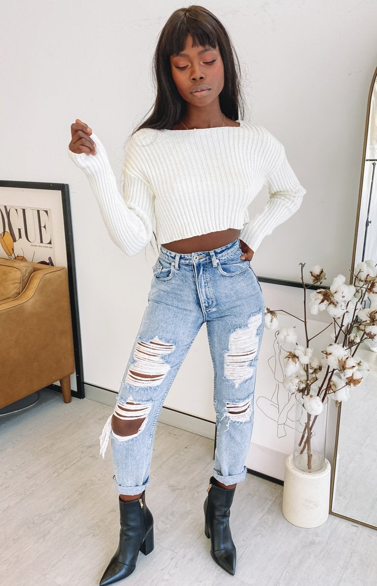 Saviour Cropped Knit Cream