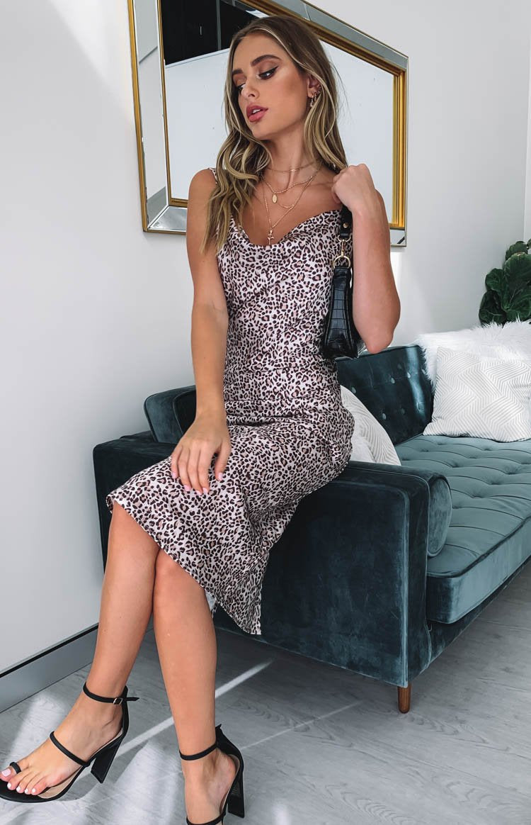 Schiffer Slip Midi Dress Leopard