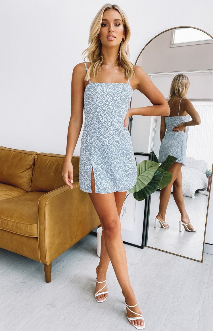 Selous Slip Mini Dress Blue Daisy
