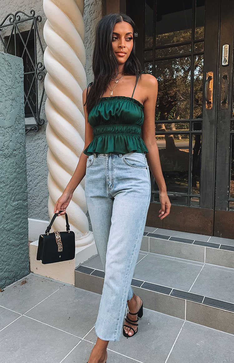 Silva Ruched Crop Emerald