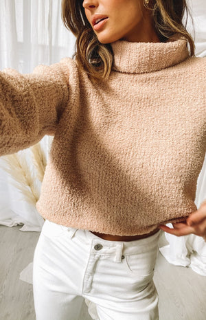 Snowi Fuzzy Winter Knitter Sweater Tan