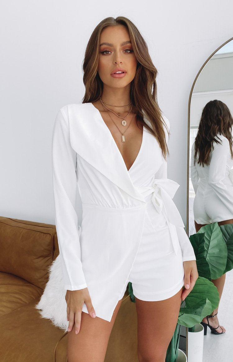 So Into You Party Playsuit White