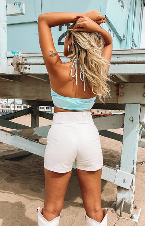 Stasia Zip Shorts White PU