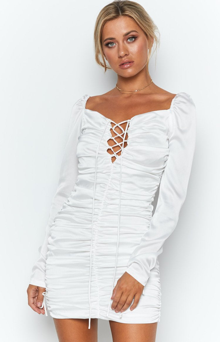 Sweet Like Cinnamon Ruched Mini Dress White