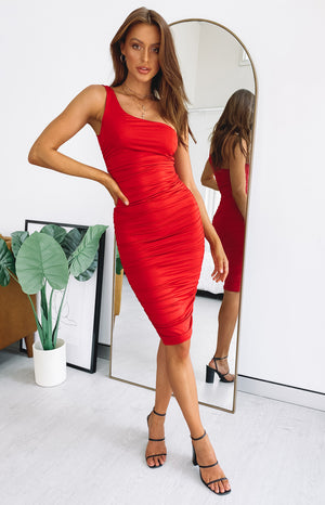 Tauriel One Shoulder Ruched Midi Dress Red