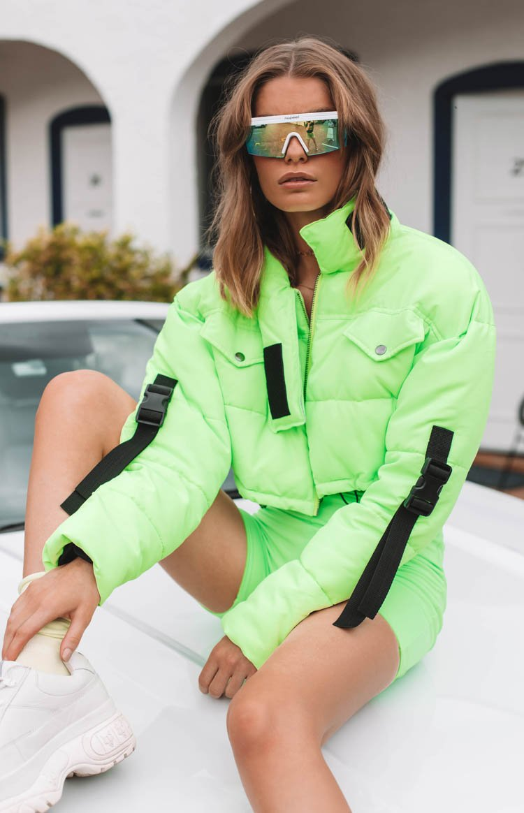 Toxic Cropped Puffer Neon Green