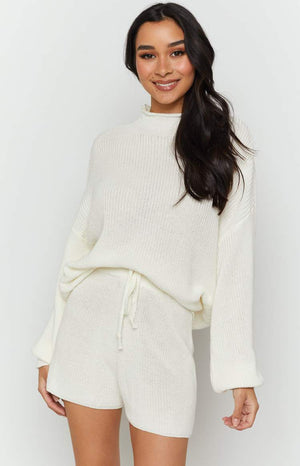 Wildfire High Neck Knit Jumper White