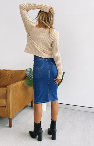 Wisteria Longer Line Denim Skirt Blue