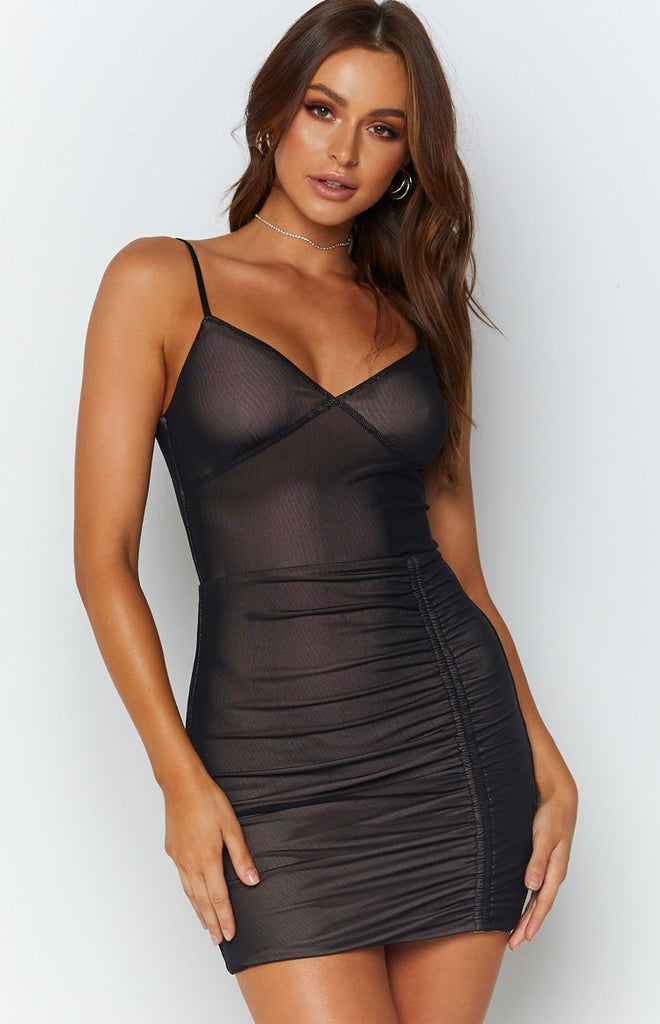 Xenia Mesh Party Dress Black Beginning Boutique