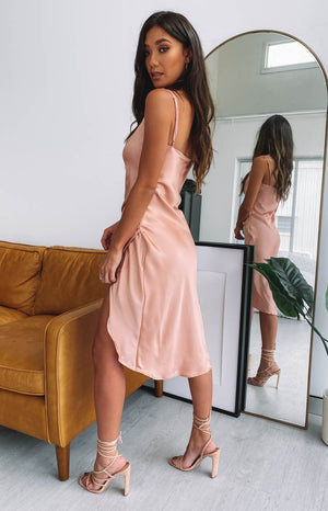 Zariah Slip Midi Dress Peach