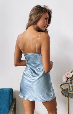 Dorine Satin Mini Dress Blue
