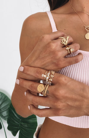 Eclat Sand Adder Ring Set Gold