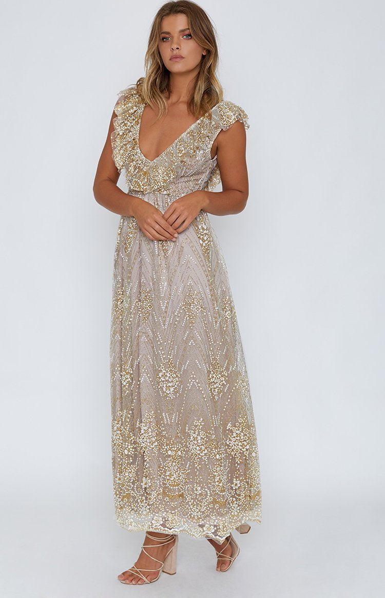 3f46f19ac22 Belle of the Ball Formal Dress Champagne Glitter
