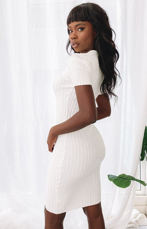 High Roller Ribbed Midi Dress White