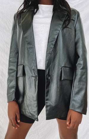 90s Kid Faux Leather Jacket Black