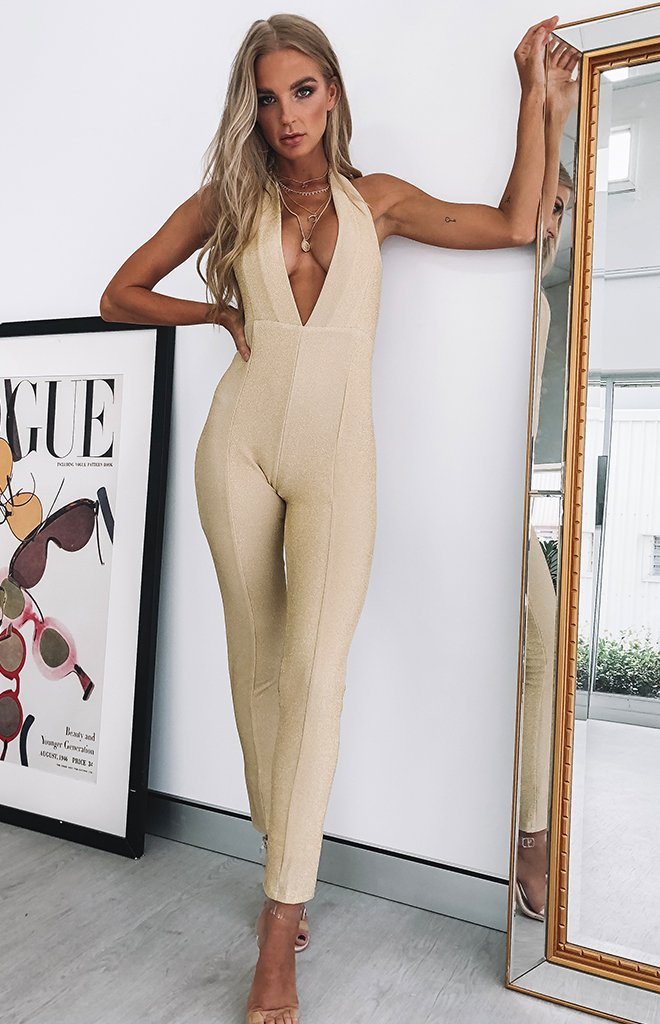 Eden Jumpsuit Gold Sparkle