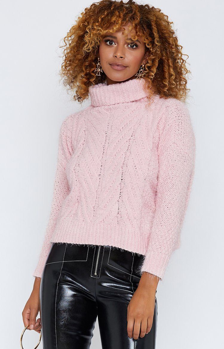 Pearl Knit Turtleneck Jumper Baby Pink
