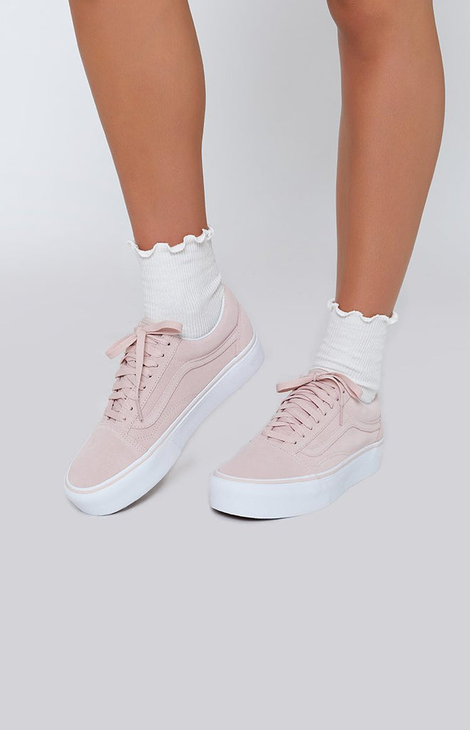 179151a0d4d7 Vans Old Skool Platform Sneakers Sepia Rose   True White – Beginning  Boutique