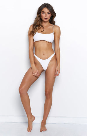 9.0 Swim Bahamas Bikini Bottoms White Ribbed
