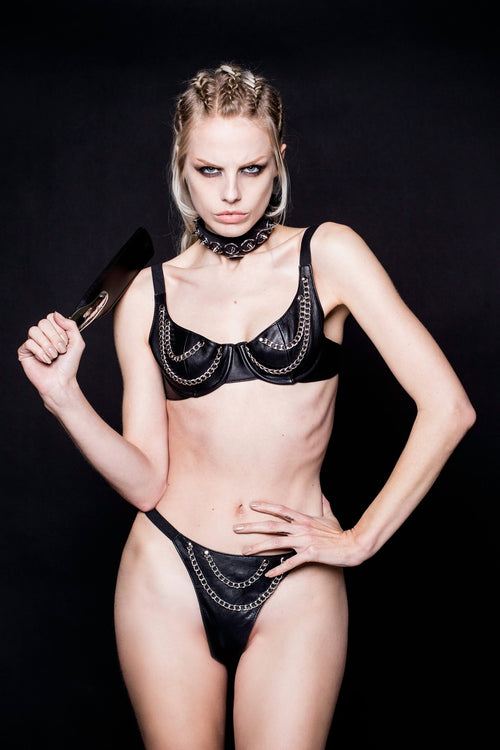 House of SXN The Audax - Leather and Chained Bra and Thong Set 0