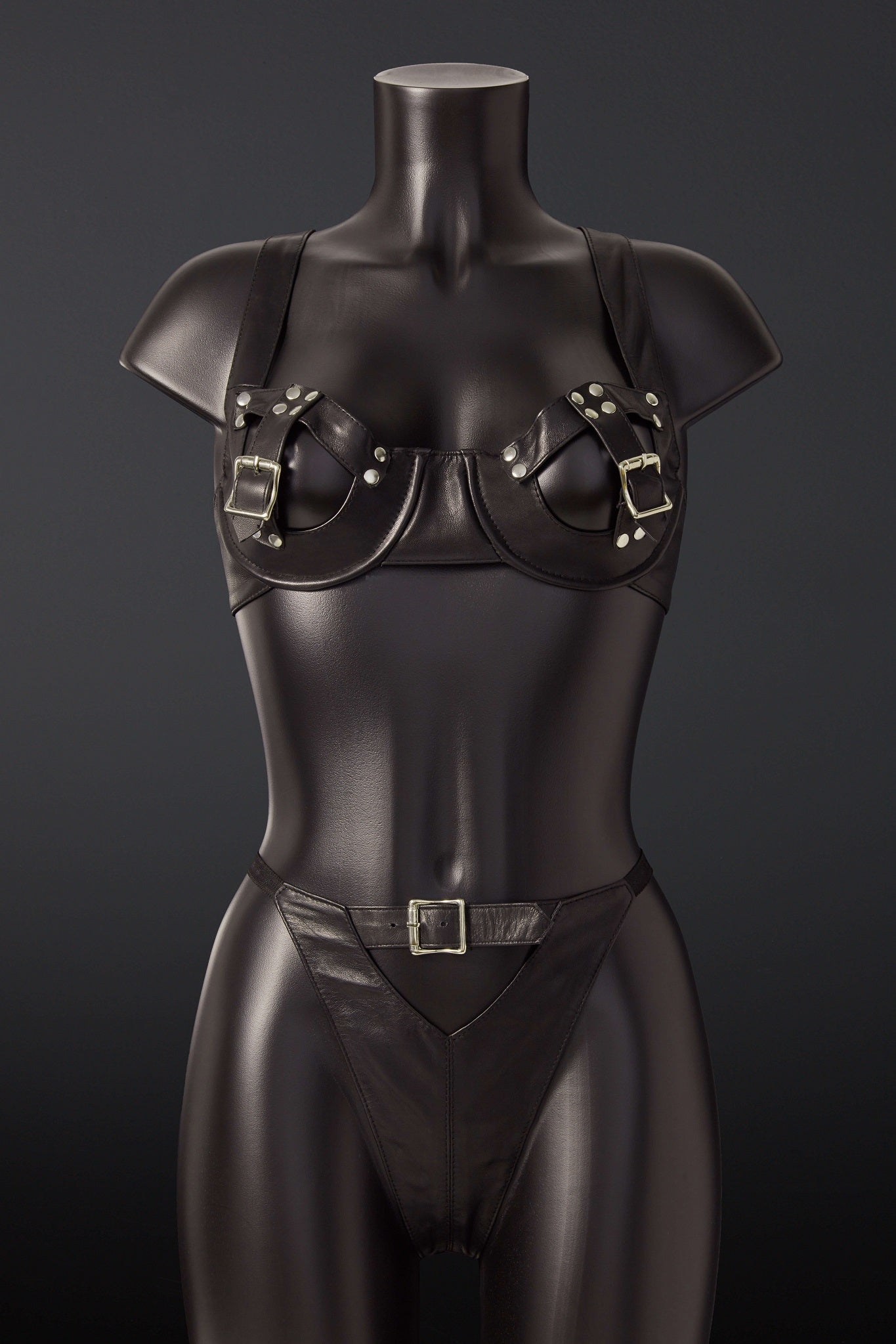 House of SXN Imperium Leather Bra and Thong Set 2