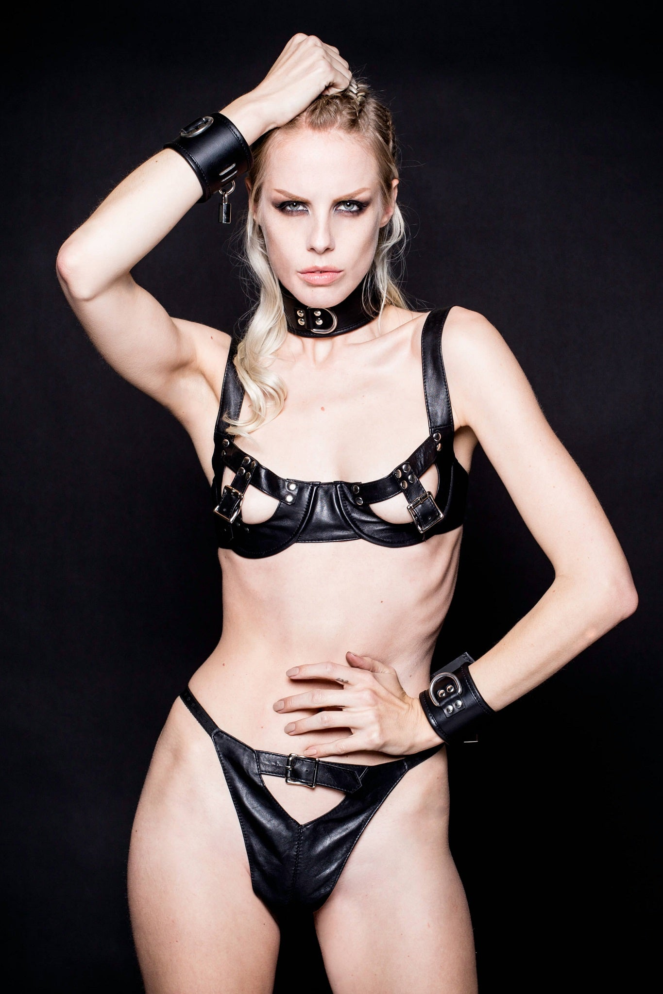 House of SXN Imperium Leather Bra and Thong Set 1