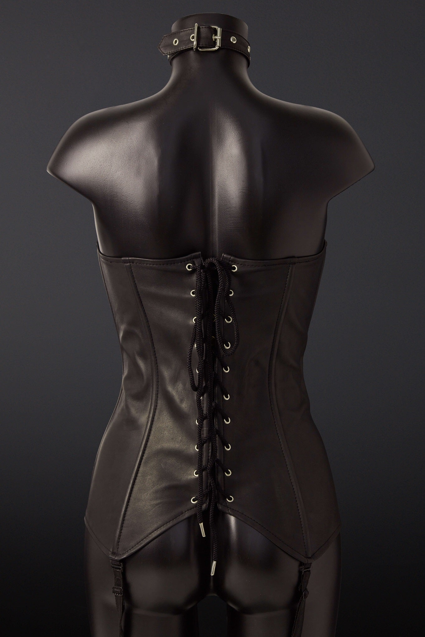 House of SXN Leather Sense Black Leather Corset