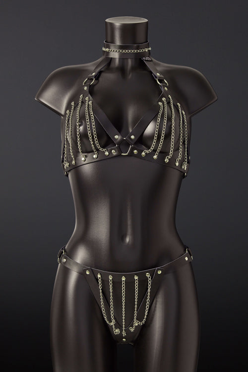 House of SXN Servage Leather and Chain BDSM Bra and Thong