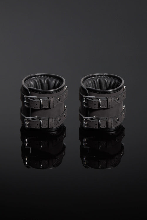 House of SXN Servage Nubuck Leather Bondage Cuffs Ankle