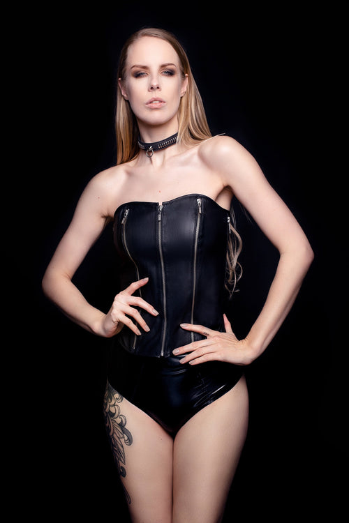 Ultra Quin Five Zipper Leather Corset - House of SXN
